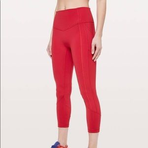 Red Lululemon All The Right Places Crop